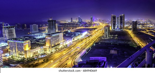 MANAMA, BAHRAIN - JULY 12: A panoramic view of the city. Manama, Bahrain. July 12, 2017 , Kingdom of Bahrain