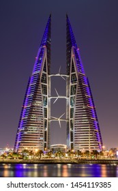 MANAMA, BAHRAIN - JULY, 2019: Beautiful view of Bahrain World trade center at night, Manama city, Bahrain