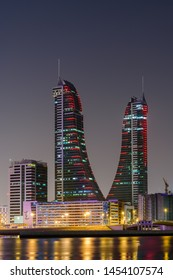 Manama, Bahrain - July, 2019: Tallest building in Bahrain, Bahrain Financial Harbour at night, Manama, Bahrain.