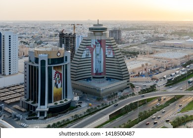 MANAMA, BAHRAIN - JUNE 07, 2018: Beautiful view of chamber of commerce, LMRA building and other high raise buildings of sanabis, Seef district.