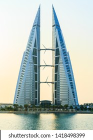 MANAMA, BAHRAIN - JUNE, 2019: Beautiful view of Bahrain World trade center, Manama city, Bahrain