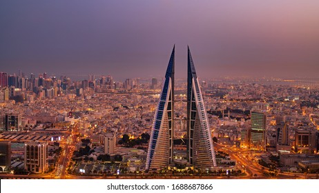 Manama, Bahrain - March 10, 2020 : Aerial view of Manama city at night