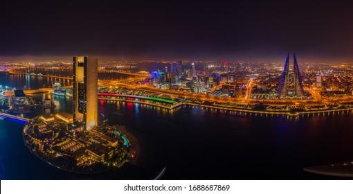 Manama, Bahrain - March 10, 2020 : Aerial view of Manama city at night
