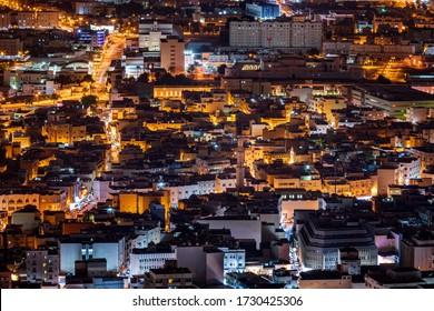 MANAMA, BAHRAIN - MAY 09, 2020: Ariel view of Downtown Manama at night, the capital of Bahrain