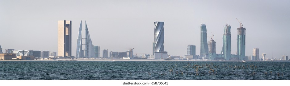 MANAMA, BAHRAIN - May 12,2017 14: Skyscrapers and skyline of Manama City. A Panoramic View