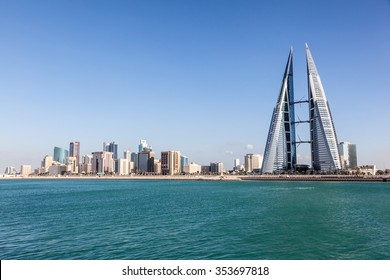 MANAMA, BAHRAIN - NOV 14: Skyline of Manama City with the World Trade Center skyscraper. November 14, 2015 in Manama, Kingdom of Bahrain