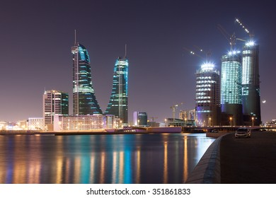 MANAMA, BAHRAIN - NOV 15: Financial Harbour district illuminated at night. November 15, 2015 in Manama City, Kingdom of Bahrain, Middle East