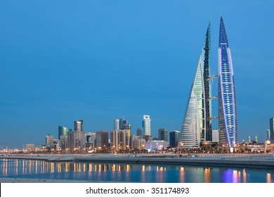MANAMA, BAHRAIN - NOV 17: Skyline of Manama city with the World Trade Center illuminated at dusk. November 17, 2015 in Manama, Kingdom of Bahrain, Middle East