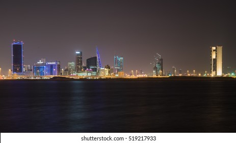 MANAMA, BAHRAIN - Nov 20, 2016: Beautiful and wide view of the Seafront with illuminated World Trade Center and other high rise buildings in the city. A Night Shot, in long exposure