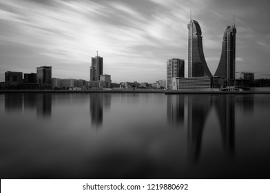 MANAMA , BAHRAIN - NOVEMBER 02: Bahrain Financial Harbour with dramatic clouds during morning hours on November 02, 2018. It is one of tallest twin towers in Manama, Bahrain.