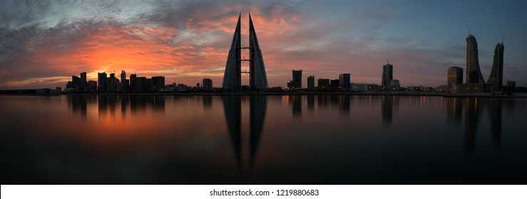 MANAMA, BAHRAIN -  NOVEMBER 02: Bahrain skyline with iconic buildings, the Bahrain World Trade Center and the Financial hourbour during morning hours on November 02, 2018, Manama, Bahrain