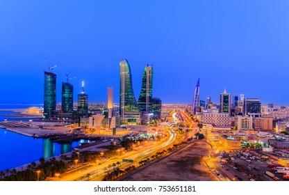 MANAMA, BAHRAIN - NOVEMBER 09, 2017: Beautiful view of Manama city at blue hour with all highrise buildings