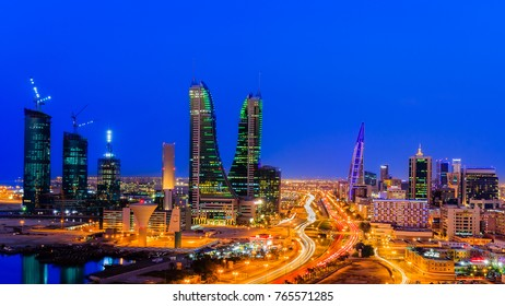 MANAMA, BAHRAIN - NOVEMBER 09, 2017: View of Manama city at blue hour.