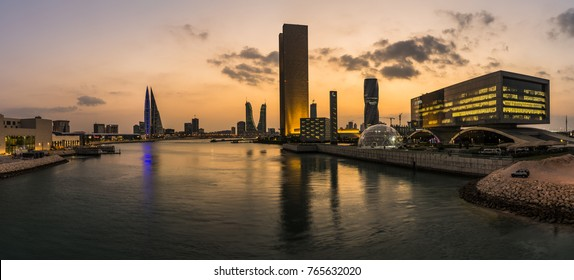 MANAMA, BAHRAIN - November , 2017: Panorama view of the Bahrain Bay cityscape after sunset on Nov 28, 2017 in Manama, Bahrain
