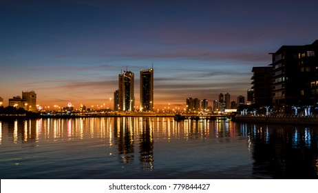 MANAMA, BAHRAIN - November , 2017: View of the Reef Island from Bahrain financial harbor along with other high rise buildings of Seef district on Nov 28, 2017 in Manama, Bahrain