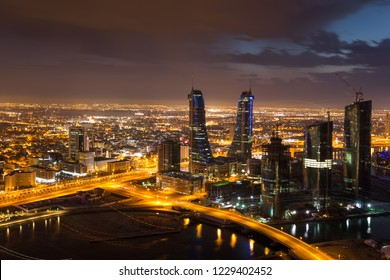 Manama, Bahrain - November, 2018: View of Bahrain Financial Harbour and bahrain skyline at night, Manama, Bahrain.
