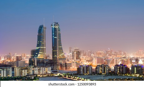 MANAMA, BAHRAIN - November , 2018: View of Bahrain financial harbor and other high rise buildings in Manama at sunset  on Nov 16, 2018 in Manama, Bahrain