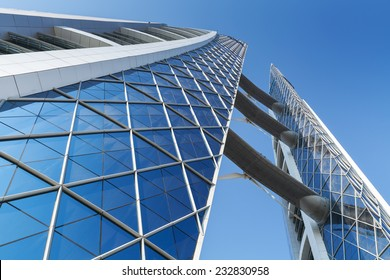 Manama, Bahrain - November 21, 2014: Bahrain World Trade Center. This is a 240-meter-high, 50-floor, twin tower complex, built in 2008, first skyscraper in the world with integrated wind turbines