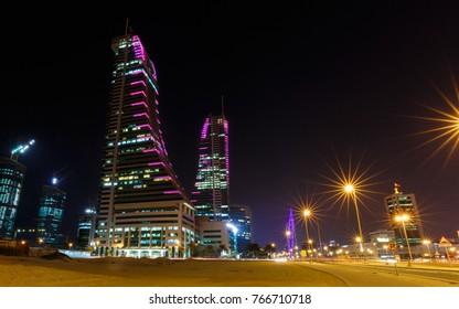 MANAMA, BAHRAIN - NOVEMBER 28, 2017: Close view of Bahrain Financial Harbour at night in Bahrain.