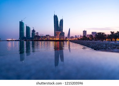 MANAMA , BAHRAIN - Oct-26: Tallest iconic buildings, Bahrain Financial Harbour  during dusk, Manama, Bahrain on Oct- 26, 2018