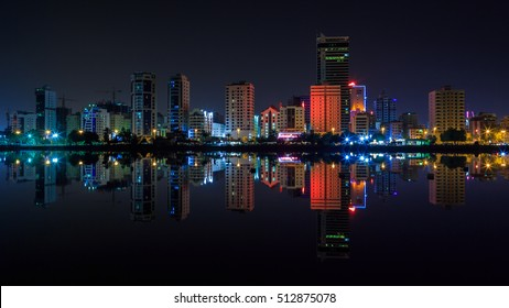 MANAMA, BAHRAIN - OCTOBER 23, 2016: Beautiful view of hotel and apartment buildings in Bahrain in the waterfront.