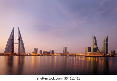 MANAMA , BAHRAIN - OCTOBER 30: Tallest iconic buildings Bahrain Financial Harbour and World trade center during sunrise, Manama, Bahrain on October 30, 2016