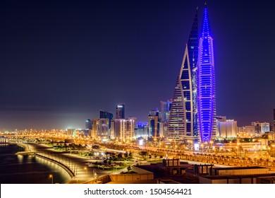 Manama, Bahrain - September 15, 2019: Beautiful view of Bahrain World Trade Centre building, Avenue mall and manama city at night.