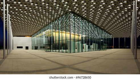 MANAMA, BAHRAIN-AUGUST 11: The beautiful illuminated Bahrain National Theater on August 11, 2017, Manama, Bahrain. This is one of largest theater in the Arab world with 1001 seats
