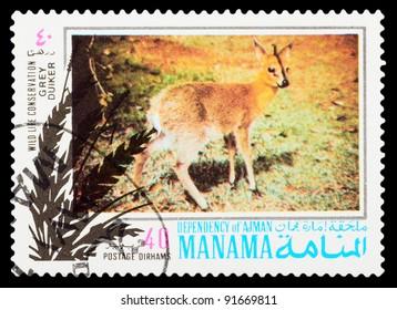 MANAMA - CIRCA 1971: a stamp printed by MANAMA shows wild animals, series wild life conservation, circa 1971