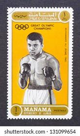 MANAMA - CIRCA 1972: a postage stamp printed in Manama showing an image of Muhammad Ali, circa 1972.