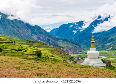 Manang village, Annapurna Conservation Area, Nepal - July 26, 2018 : Traditional architecture in the ancient Manang village, Annapurna Conservation Area, the largest protected area of Nepal