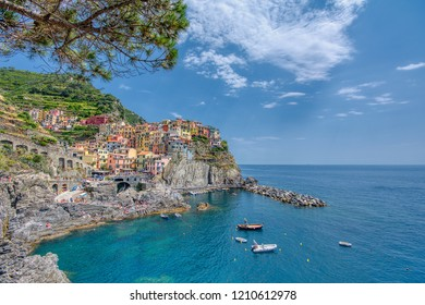 Manarola, Cinque Terre - July 9, 2018:. Manarola is a beautiful small town in the province of La Spezia, Liguria, north of Italy and one of the five Cinque terre travel attractions to tourists.