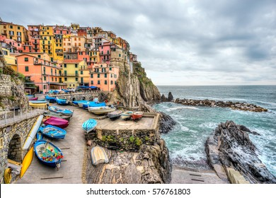 Manarola fishing village, seascape in Five lands, Cinque Terre National Park, Liguria, Italy.