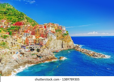 Manarola, Italy - the Cinque Terre National Italian park. UNESCO world heritage site. Historical ancient Mediterranean place. Famous and Popular travel destination. Manarola is one of five villages.