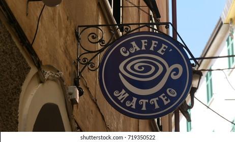 MANAROLA, ITALY - CIRCA APRIL 2017:  a sign of a pub called Matteo: Matthew in the village of Manarola, Cinque Terre, Liguria, Italy