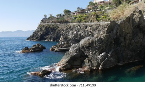 MANAROLA, ITALY - CIRCA MARCH 2017:  a view of the trail  the Way of Love. It is a promenade overlooking the sea  linking the villages of Riomaggiore and Manarola, Cinque Terre, in Liguria, Italy