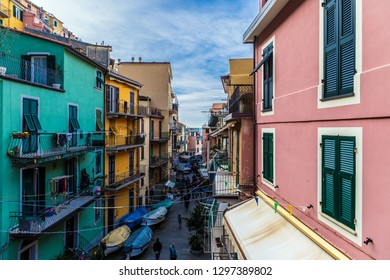 Manarola, Italy - December 30, 2018: Main street of Manarola in Liguria, Cinque Terre