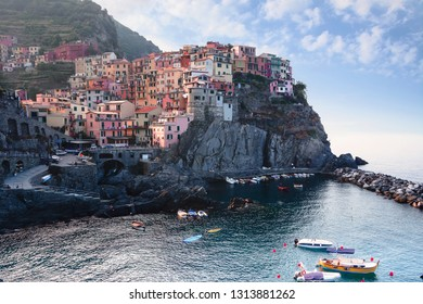 Manarola, Italy, La Specia Province, Liguria Regione, 07 august, 2018: View on the colorful houses along the coastline of Cinque Terre area in Manarola.