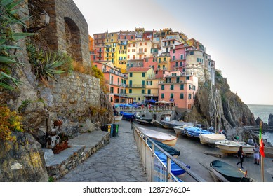 Manarola, Italy - October 12, 2018: View of Manarola in coastline of Liguria, Cinque Terre