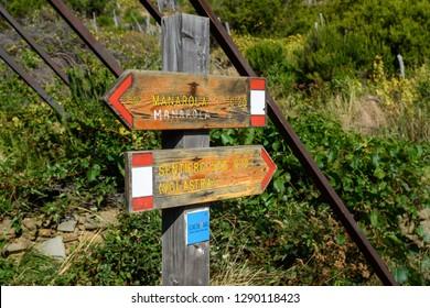 Manarola, Italy - October 12, 2018: Trail sign of Manarola town in Cinque Terre