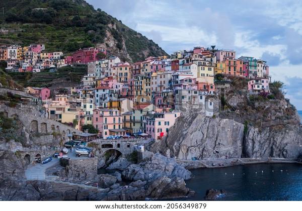 Manarola, Italy - October 3, 2021: Manarola colorful fishing village, seascape in Five lands, Cinque Terre National Park, Liguria, Italy