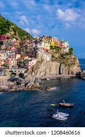 MANAROLA, ITALY - SEP 13, 2018: Picturesque town of Manarola, in the province of La Spezia, Liguria, Italy