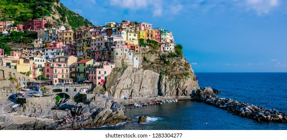 MANAROLA, ITALY - SEP 13, 2018: Picturesque town of Manarola, in the province of La Spezia, Liguria, Italy