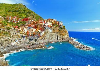 Manarola, Italy. UNESCO world heritage list object. Incredible old village Manarola on Liguria sea coastline, Cinque Terre National Italian park. Famous and popular travel destination in Europe.