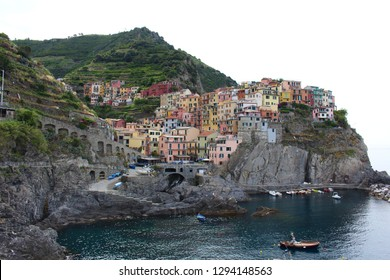 Manarola / La Spezia / Italy - June 25, 2018: Beautiful view of Manarola. Is one of five famous colorful villages of Cinque Terre National Park (Five Lands).