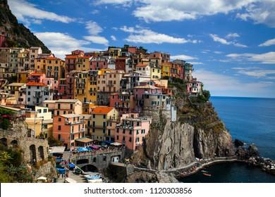 Manarola, Liguria, Italy - June 14, 2018: Manarola Village, Cinque Terre Coast of Italy. Manarola is a beautiful small town in the province of La Spezia, Liguria