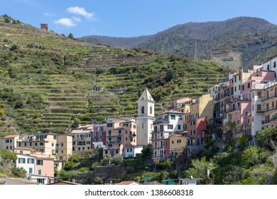 MANAROLA, LIGURIA/ITALY  - APRIL 20 : View of the belltower at Manarola Liguria Italy on April 20, 2019