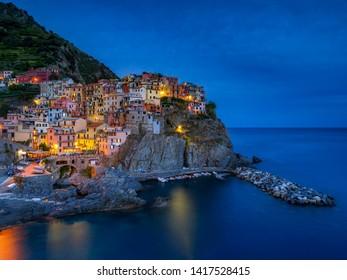 Manarola at night, Cinque Terre, La Spezia, Liguria, Italy, Europe, 12. September 2018