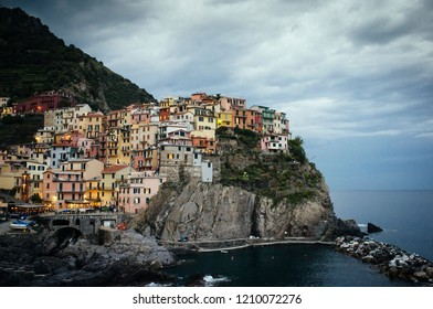 Manarola, one of the Cinque Terre towns, at dusk