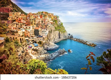 manarola, Seascape in Five lands, Cinque Terre National Park, Liguria Italy Europe.